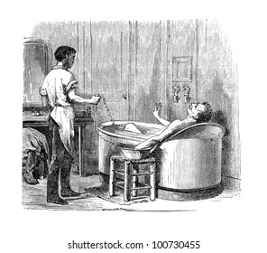 The first electric baths were introduced at the Hopital de la Pitie' in Paris by Bequerel. Many users survived and enjoyed it.Wood engraving from L'Electricite' by J. Baille, Paris-Hachette 1868.