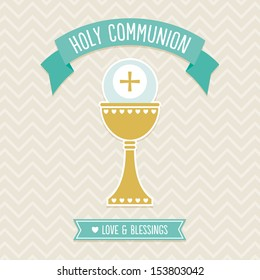First Holy Communion Card template in cream and aqua on vintage chevron background. See my folio for other colors and for vector version.