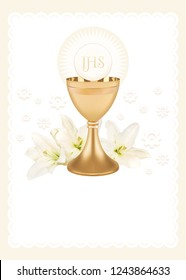 First Holy Communion, composition with a chalice, host and lily flowers