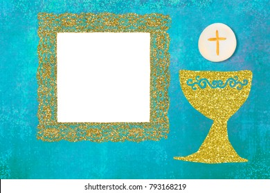 First Holy Communion frame card. Gold chalice and host on blue background with photo frame.