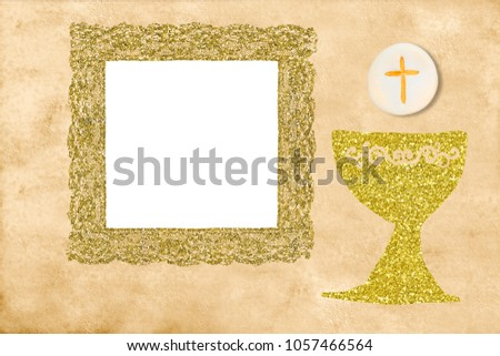 First Holy Communion Invitation Card Golden Stock Illustration