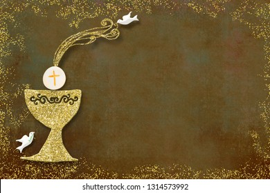 First holy communion invitation card.Golden chalice and doves on paper background with copy space to text and photo.