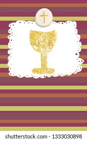 First Holy Communion invitations, gold chalice and host on cheerful paper  background with empty space for text and photos, vertical card.