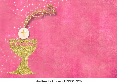 First Holy Communion invitations, gold chalice, host and stars on pink  background with empty space for text and photos