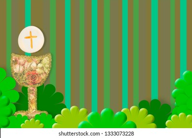 First Holy Communion invitations, gold and flowers chalice on green background with empty space for text and photos