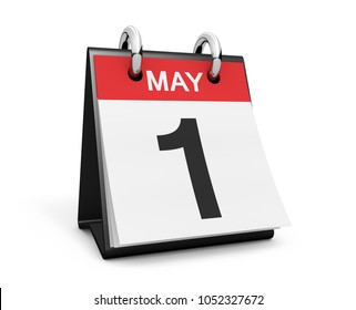 First of May desk calendar labor day international holiday concept with black number 1 on white background.