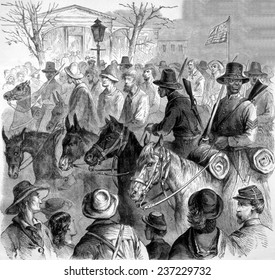 The First Mississippi Negro Cavalry bringing Confederate prisoners into Vicksburg, 1864.