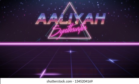 first name Aaliyah in synthwave style with triangle in blue violet and black colors