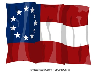 First national flag. Official design 1861 Historic Flag. US Civil War 1860's. Confederate States of America