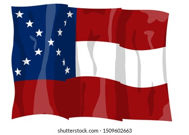 First national flag variation. Historic Flag. US Civil War 1860's. Confederate States of America