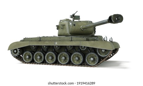 First operational heavy tank of the US Army World War II and Korean war. Side view on isolated background. 3d rendering.
