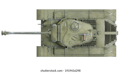 First operational heavy tank of the US Army World War II and Korean war. Top view on isolated background. 3d rendering.