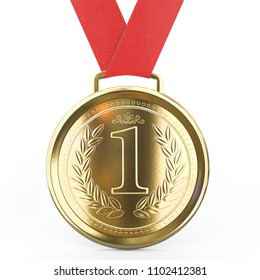 First place Gold medal with red ribbon isolated on white background - 3D Rendering