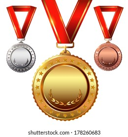 First place. Second place.Third place. Empty Award Medals Set isolated on white with red ribbons and stars.
