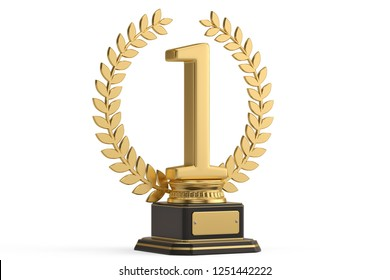 The first place trophy isolated on white background. 3D illustration.