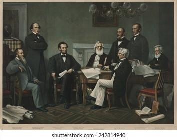 First reading of Emancipation Proclamation before the cabinet, July 22, 1862. L to R: Edwin Stanton, Salmon Chase, Lincoln, Gideon Wells, Caleb Smith, William Seward, Montgomery Blair, Edward Bates.