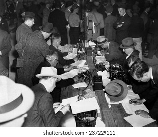 First reports of the Hindenburg disaster Newspaper men and telegraph operators work together in the pressroom of Lakehurst Naval Air Station to report the Hindenburg disaster May 6, 1937.