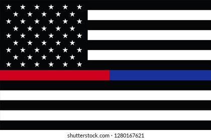 First Responder USA. Thin Blue Line Thin Red Line Embroidered U.S. American Flag Brass Grommets. Emergency medical responder. Flags of Valor. Show your support for law enforcement.