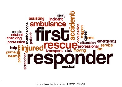First responder word cloud concept on white background