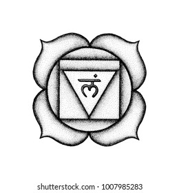 first root chakra Muladhara sanskrit seed mantra Lam hinduism syllable lotus petals. Dot work tattoo style hand drawn black monochrome symbol white isolated background for yoga meditation