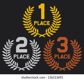 first, second and third place (set of gold, silver and bronze symbols)