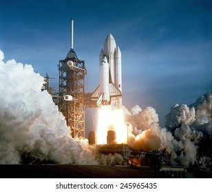 First space shuttle launch on April 12, 1981. Astronauts John Young and Robert Crippen spent 54 hours in Earth orbit and return in an unpowered landing at Edwards Air Force Base in California.