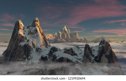 First sunlight lights up a twin mountain peak towering high above low hanging clouds (3D rendering)