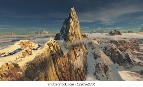 First sunlight on a giant snow covered rocky peak with nice cirrus clouds and low hanging clouds (3D rendering)