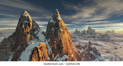 First sunlight on two giant snow covered rocky twin peaks with nice cirrus clouds and low hanging clouds (3D rendering)