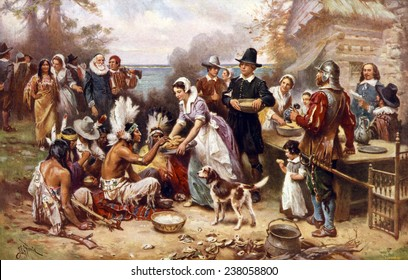 The first Thanksgiving, 1621, Pilgrims and natives gather to share a meal, oil painting by Jean Louis Gerome Ferris, 1932.