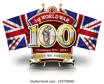 The First World Centenary graphic with Poppy, Soldier and British flags with clipping path.