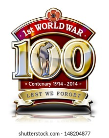 The First World War Centenary graphic with Poppy and Soldier with clipping path