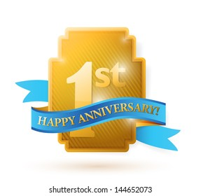 first years anniversary shield. illustration design over white
