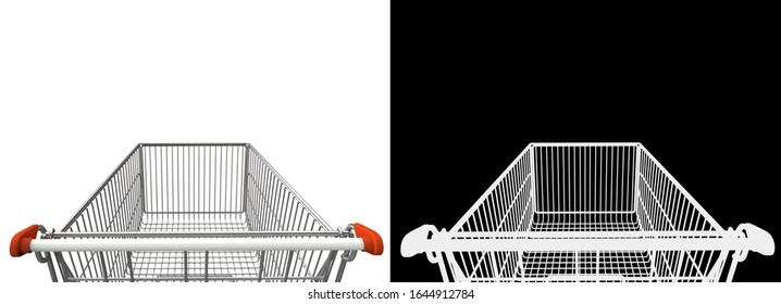 First-Person View of Shopping Cart with Alpha Mask for Easy Adding. 3D Render Isolated on White Background.