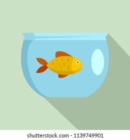 Fish in aquarium icon. Flat illustration of fish in aquarium icon for web design