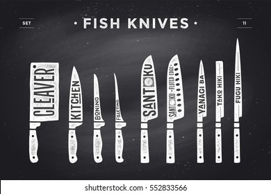 Fish cutting knives set. Poster of Butcher diagram and scheme. Set of fish knives for butcher shop and design butcher theme. Vintage typographic hand-drawn. illustration