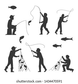 Fish and fisherman silhouettes isolated on white background. Fisherman fishing sport and leisure. illustration