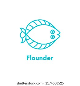 Fish flounder thin line icon. Flatfish or plaice. Linear silhouette sea fish. Illustration isolated on white background.