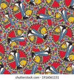 fish folk art Madhubani Illustration textile pattern deign. kalamkari hand printed design.textile allover fish design.
