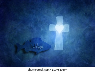 Fish with the Ichtys sign swimming in the deep blue sea and a christian cross with a heart symbolizing Gods love in times of persecution