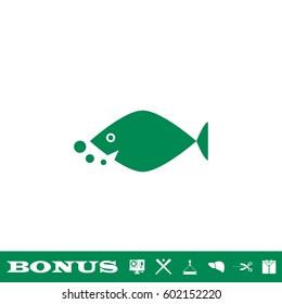 Fish icon flat. Simple green pictogram on white background. Illustration symbol and bonus button