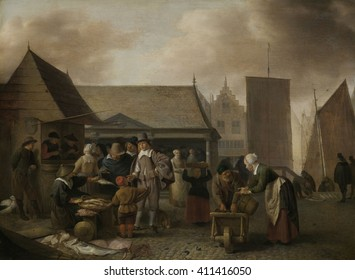 Fish Market, by Hendrick Sorgh, 1662, Dutch painting, oil on panel. Several vendors sell fish at a city market. Some are in the open and and others in stalls. In the background are ships' sails and h