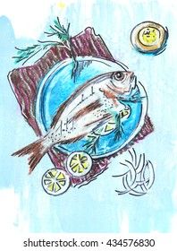 fish on plate,  ink and pencils original drawing on  paper