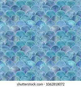 Fish scale ocean wave japanese seamless pattern. Watercolor hand drawn blue teal turquoise texture background. Watercolour geometrical scale shaped elements. Print for textile, wallpaper, wrapping