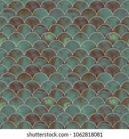 Fish scale ocean wave japanese seamless pattern. Watercolor hand drawn dark green teal texture background. Watercolour geometrical scale shaped elements. Print for textile, wallpaper, wrapping