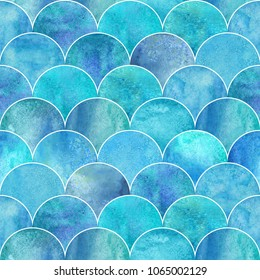 Fish scale ocean wave japanese seamless pattern. Watercolor hand drawn blue teal turquoise textured background. Watercolour geometrical scale shaped elements. Print for textile, wallpaper, wrapping