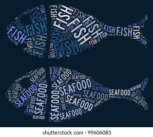 Fish and seafood text graphic and arrangement concept on dark blue background