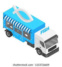 Fish shop truck icon. Isometric of fish shop truck icon for web design isolated on white background