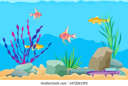 Fish swimming among stones and seaweed in aquarium. Underwater elements, sand and moss, catfish, scalar and zebrafish cartoon raster illustration