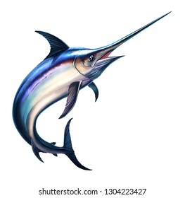 Fish sword on a white background. Marlin jumps out of the water. Fishing on the open sea is big marlin fish sword.